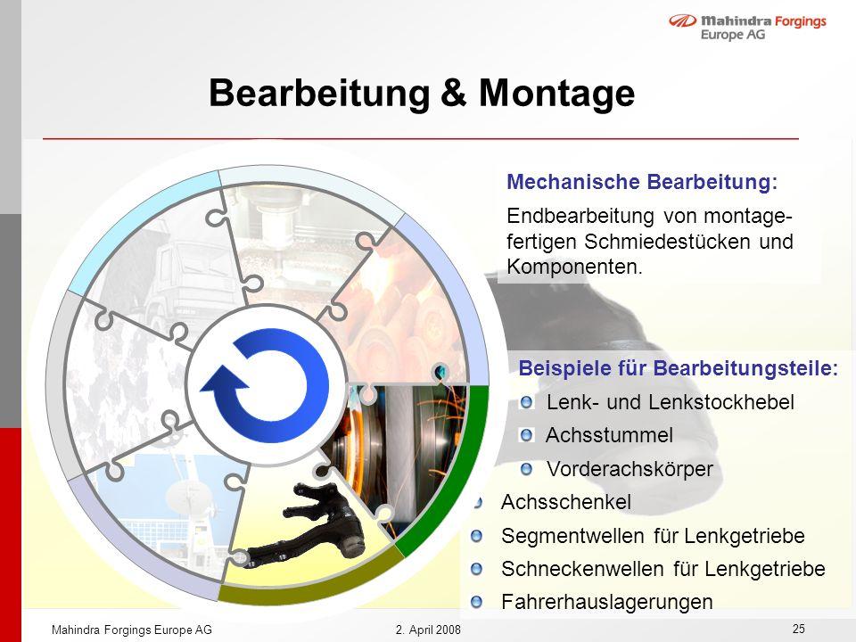 Bearbeitung & Montage Mechanische Bearbeitung: