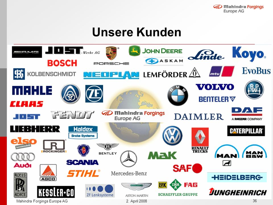 Unsere Kunden Mahindra Forgings Europe AG 2. April 2008
