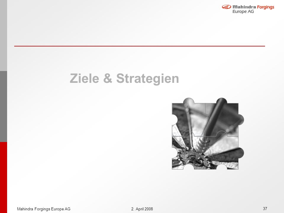 Ziele & Strategien Mahindra Forgings Europe AG 2. April 2008