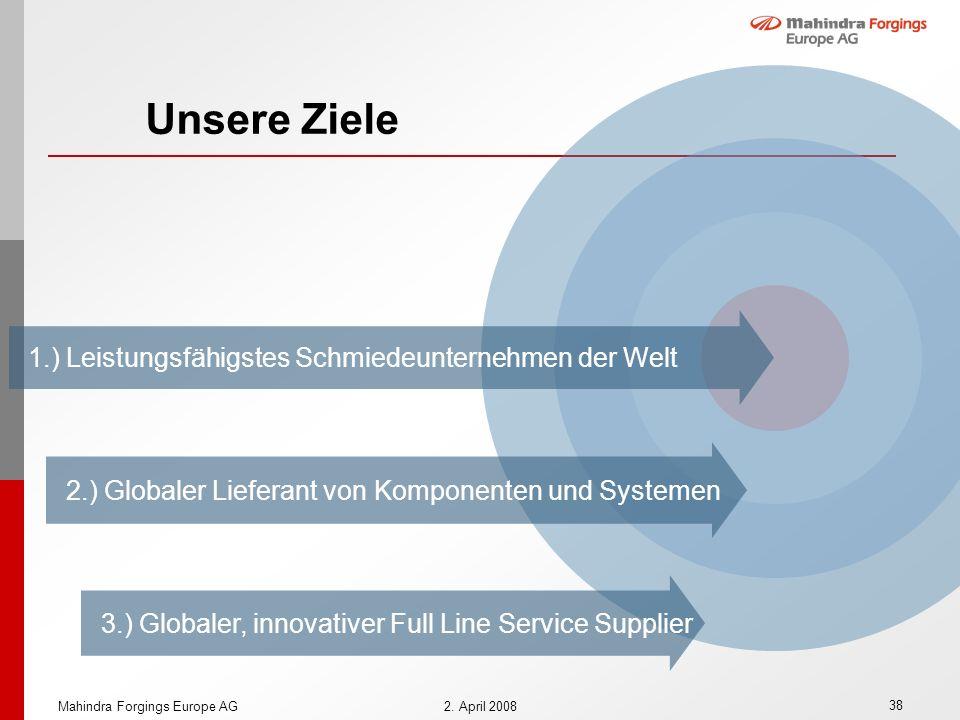 Unsere Ziele 1.) Leistungsfähigstes Schmiedeunternehmen der Welt