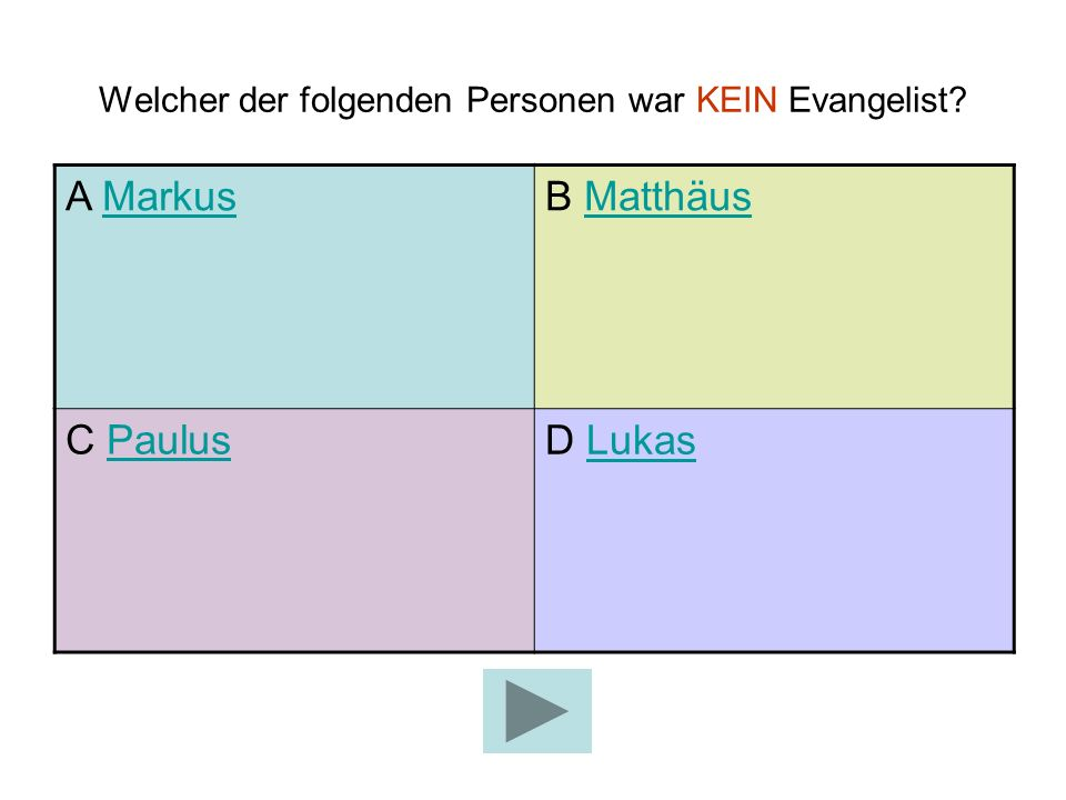 Welcher der folgenden Personen war KEIN Evangelist