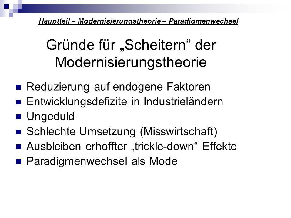 """Gründe für """"Scheitern der Modernisierungstheorie"""