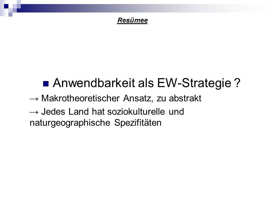 Anwendbarkeit als EW-Strategie