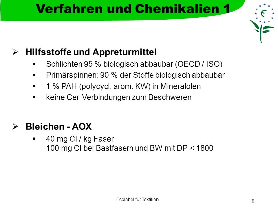 Verfahren und Chemikalien 1