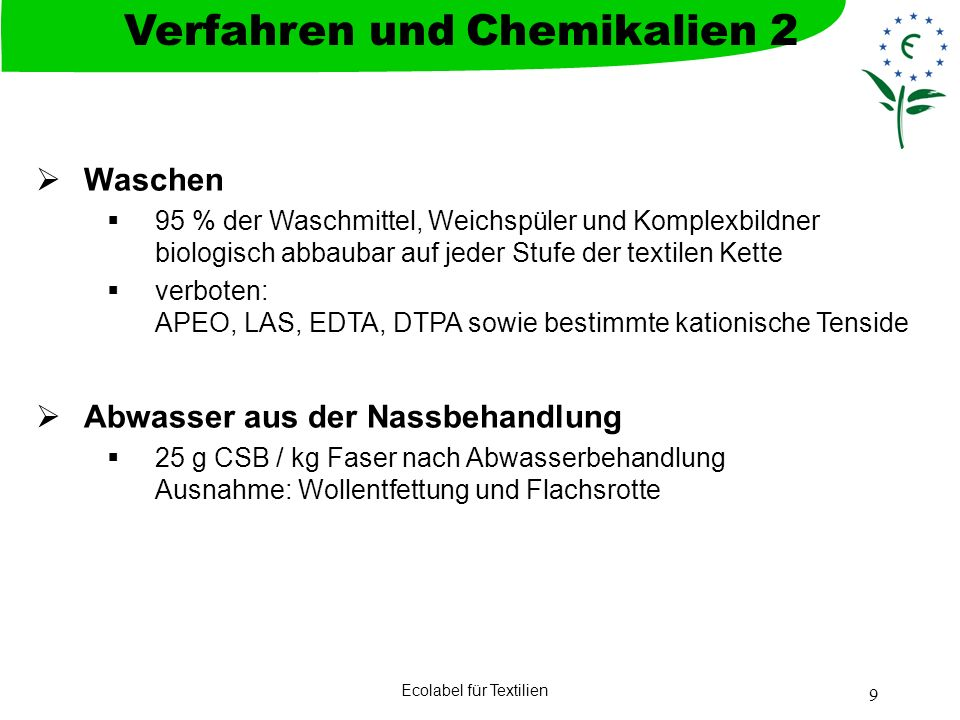 Verfahren und Chemikalien 2