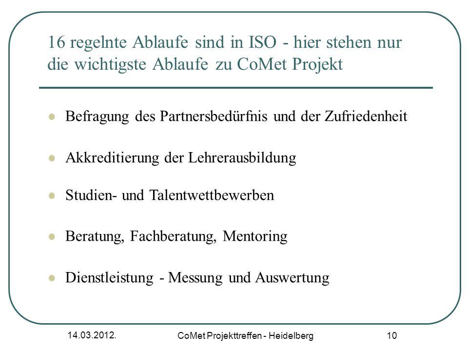 CoMet Projekttreffen - Heidelberg