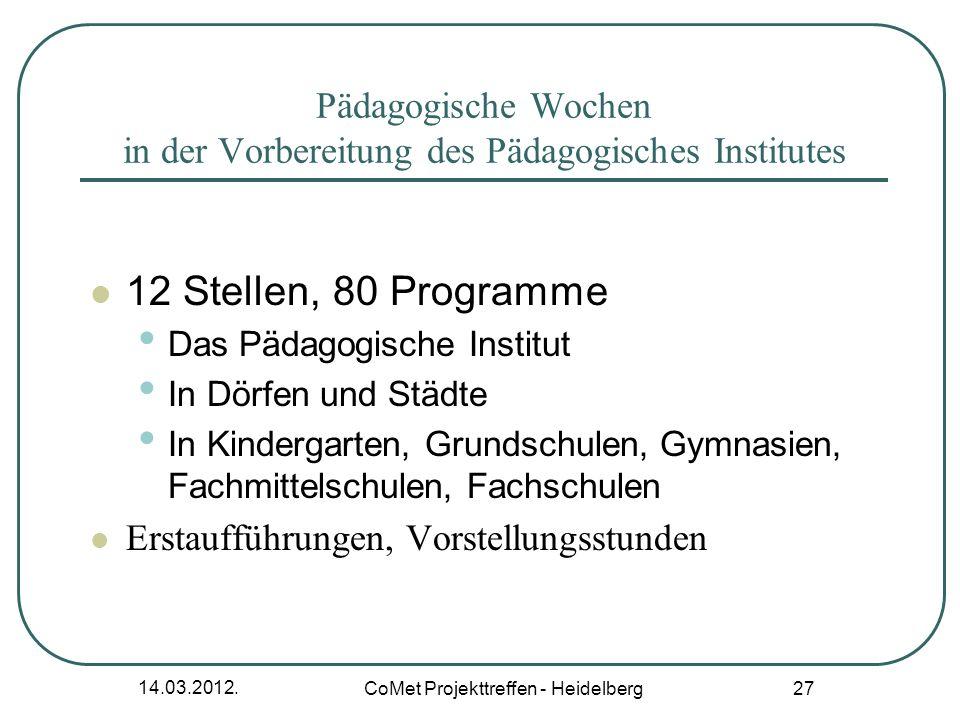 Pädagogische Wochen in der Vorbereitung des Pädagogisches Institutes