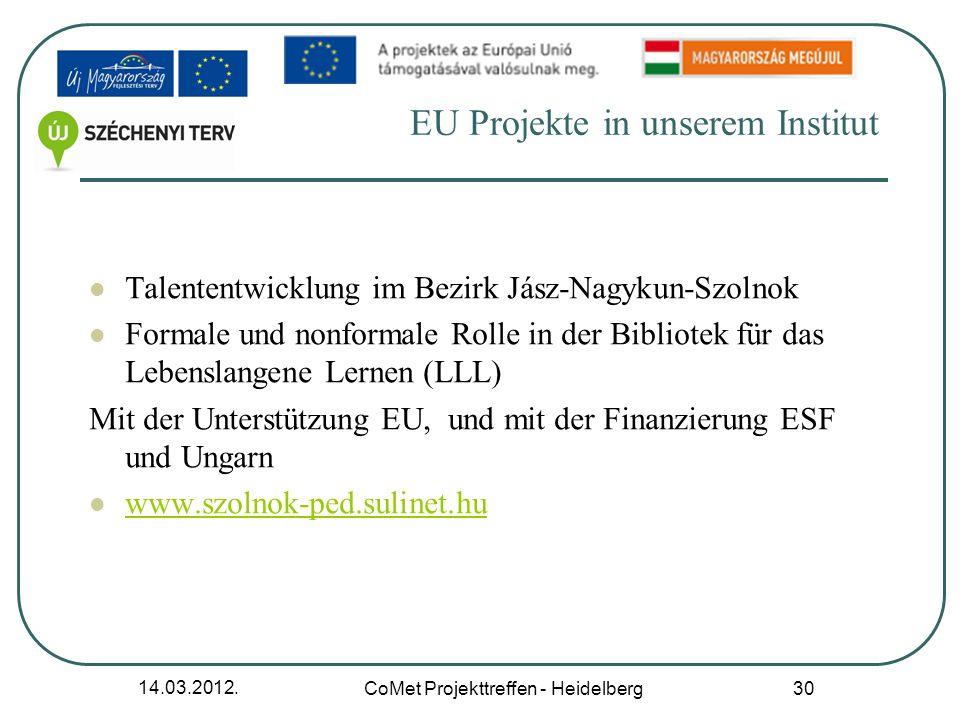 EU Projekte in unserem Institut