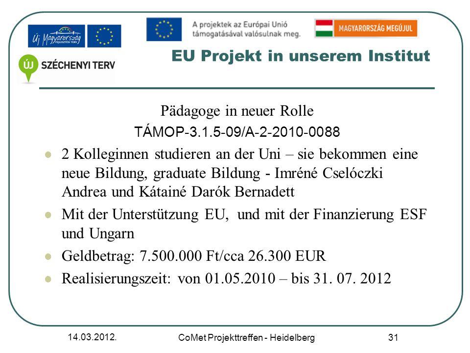 EU Projekt in unserem Institut