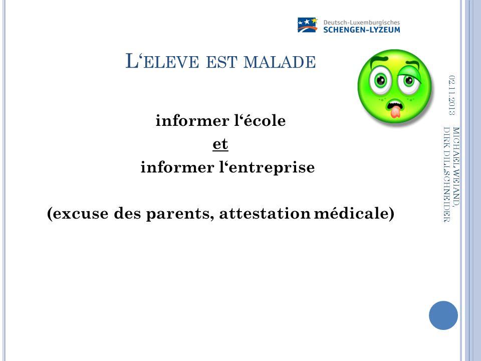 informer l'entreprise (excuse des parents, attestation médicale)