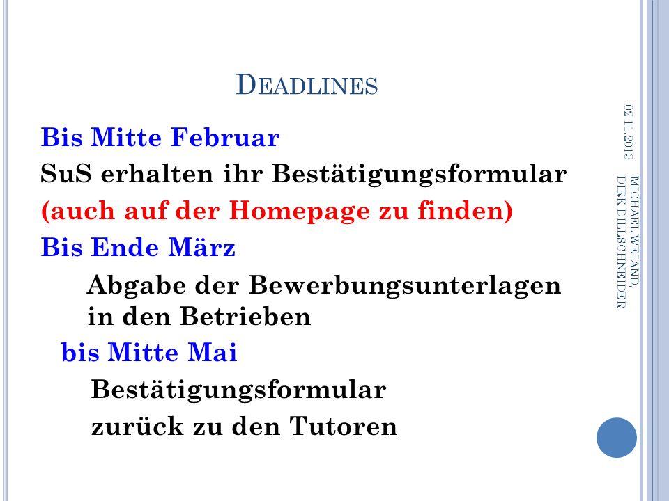 Deadlines Bis Mitte Februar SuS erhalten ihr Bestätigungsformular