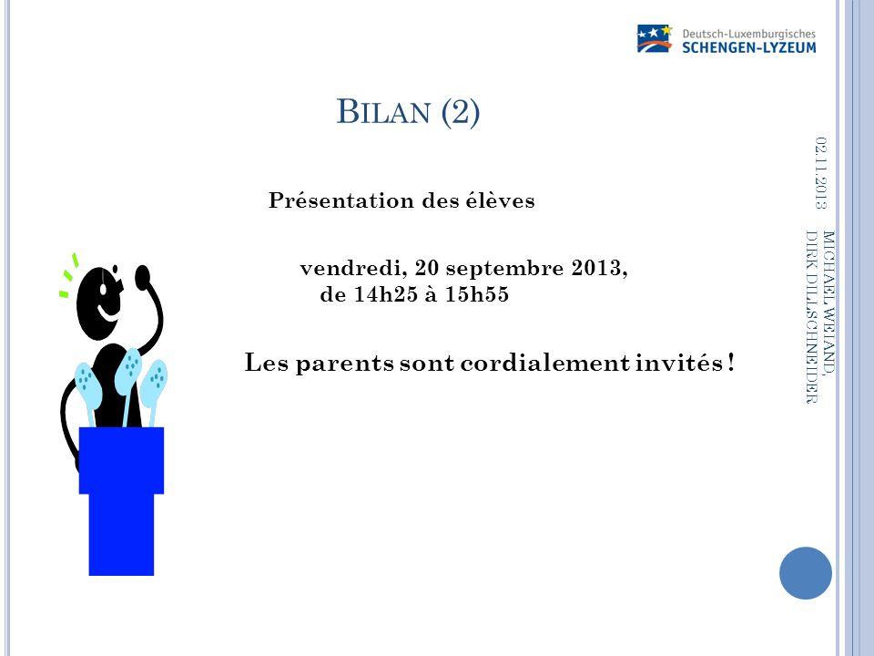Bilan (2) Présentation des élèves