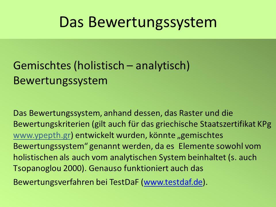 Das BewertungssystemGemischtes (holistisch – analytisch) Bewertungssystem.