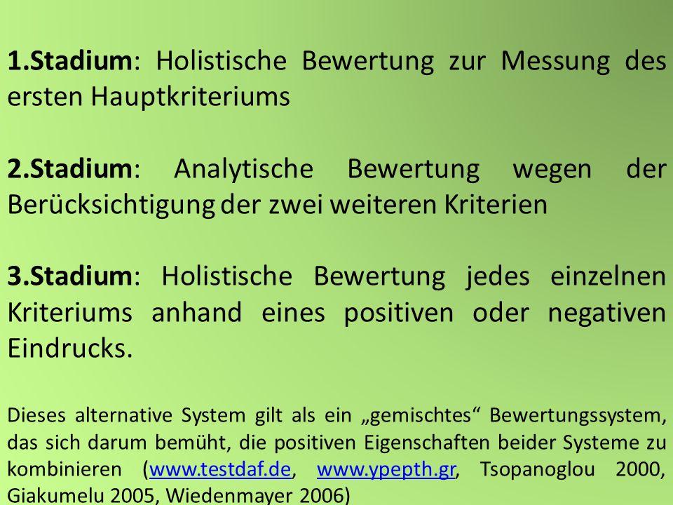 1.Stadium: Holistische Bewertung zur Messung des ersten Hauptkriteriums