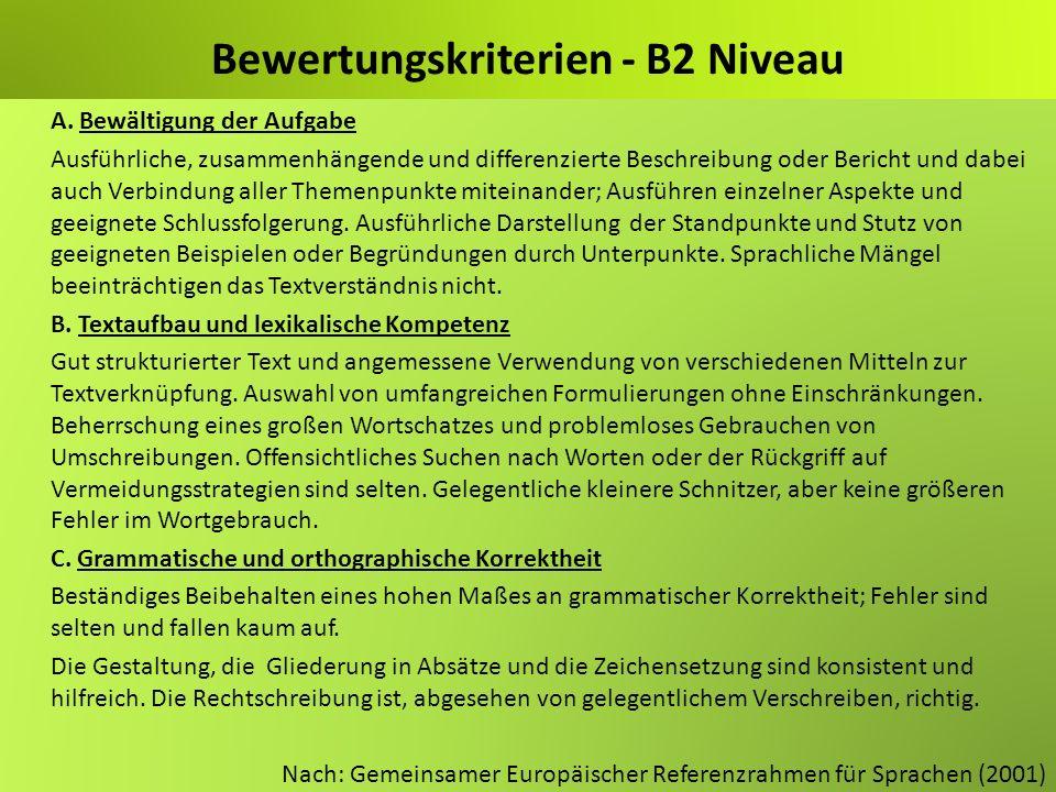 Bewertungskriterien - B2 Niveau