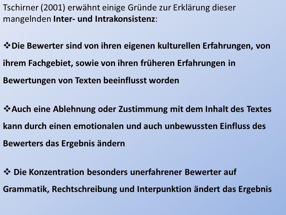 Tschirner (2001) erwähnt einige Gründe zur Erklärung dieser mangelnden Inter- und Intrakonsistenz: