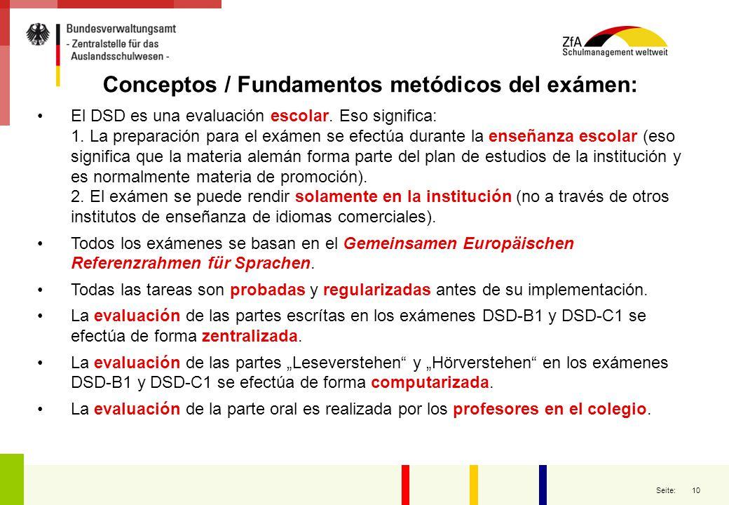 Conceptos / Fundamentos metódicos del exámen: