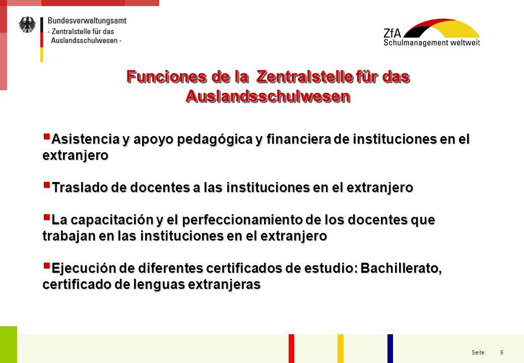 Funciones de la Zentralstelle für das Auslandsschulwesen