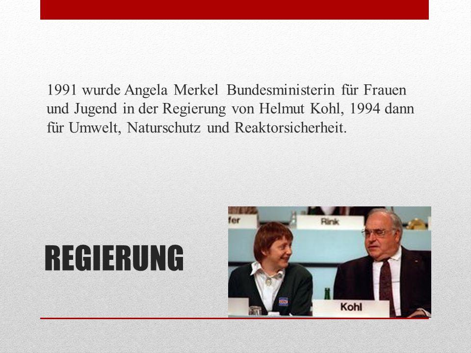 1991 wurde Angela Merkel Bundesministerin für Frauen und Jugend in der Regierung von Helmut Kohl, 1994 dann für Umwelt, Naturschutz und Reaktorsicherheit.