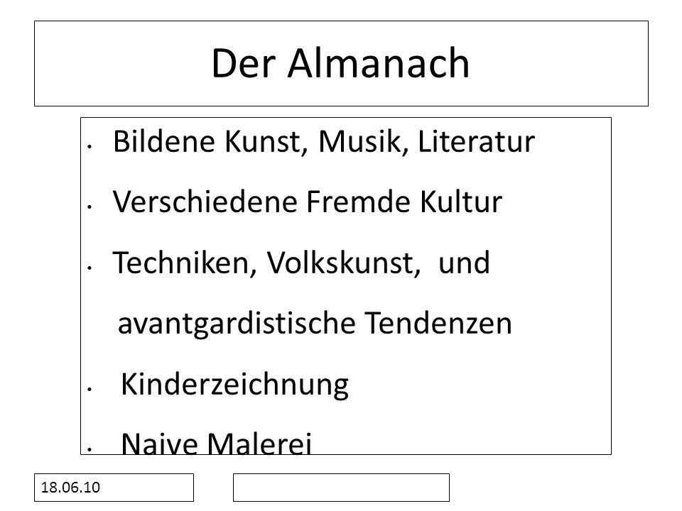 Der Almanach Bildene Kunst, Musik, Literatur