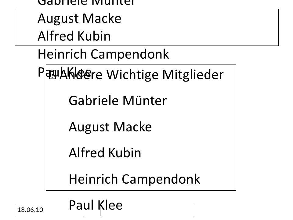 ‧ Andere Wichtige Mitglieder Gabriele Münter August Macke Alfred Kubin