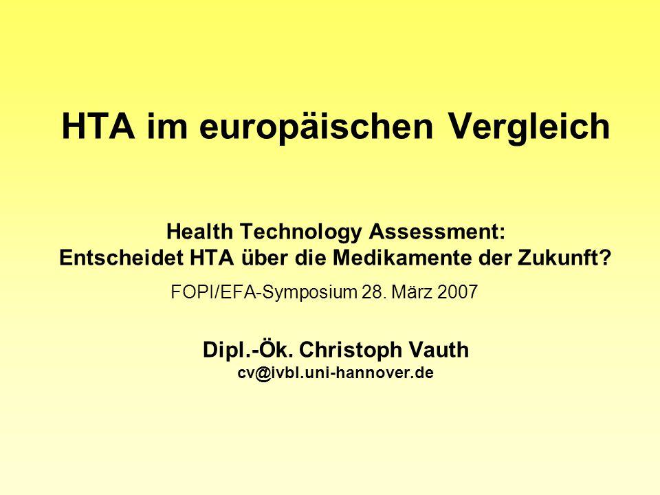 HTA im europäischen Vergleich Health Technology Assessment: Entscheidet HTA über die Medikamente der Zukunft.