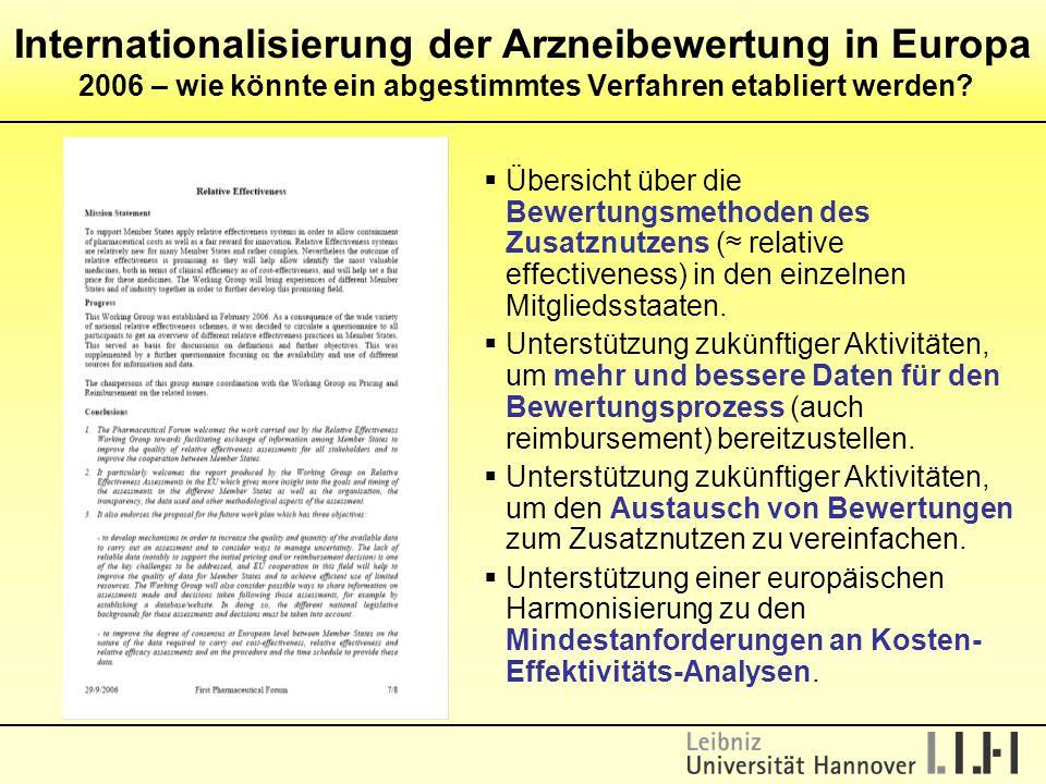 Internationalisierung der Arzneibewertung in Europa 2006 – wie könnte ein abgestimmtes Verfahren etabliert werden