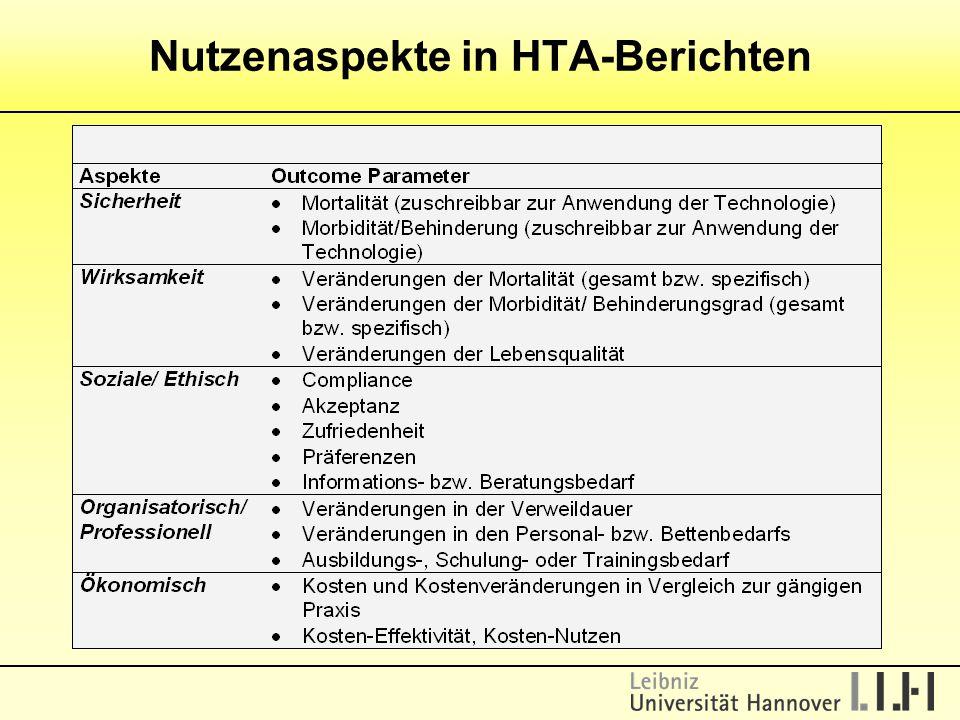 Nutzenaspekte in HTA-Berichten