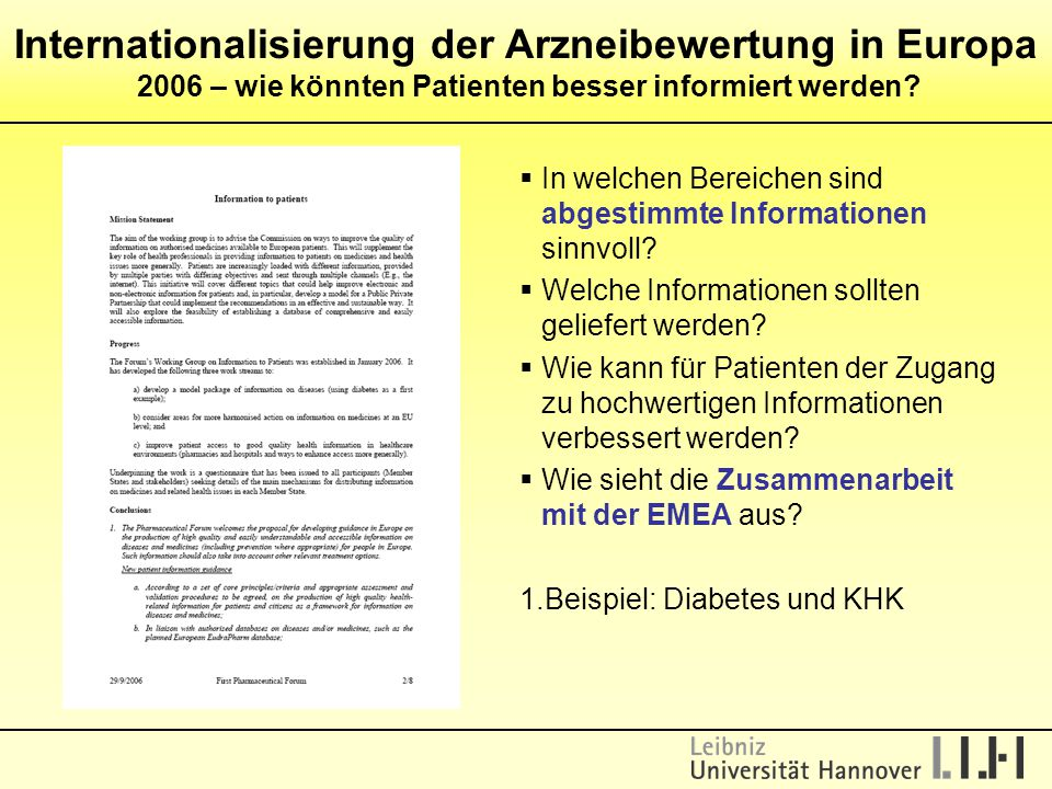 Internationalisierung der Arzneibewertung in Europa 2006 – wie könnten Patienten besser informiert werden