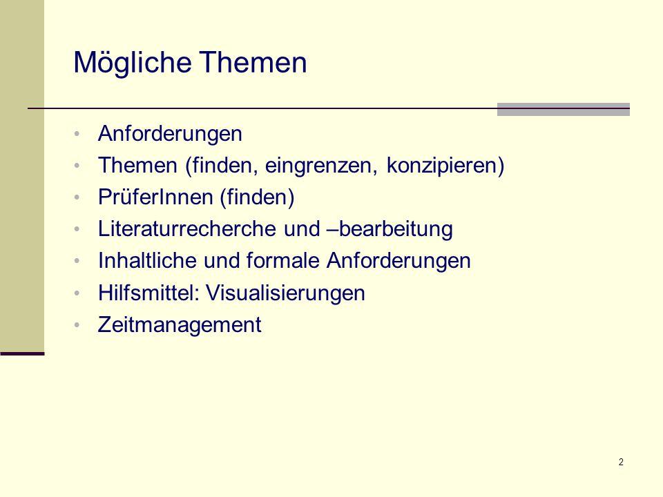 Mögliche Themen Anforderungen Themen (finden, eingrenzen, konzipieren)