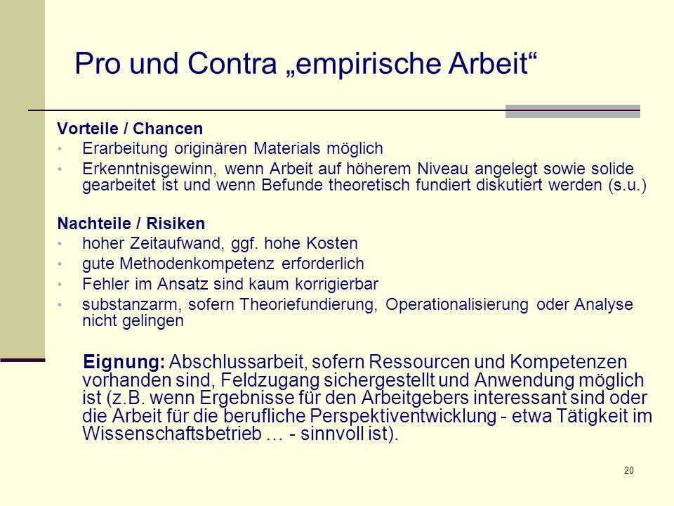 """Pro und Contra """"empirische Arbeit"""