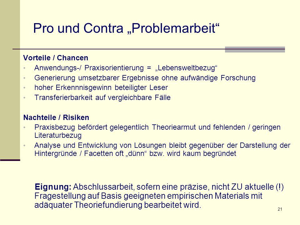 """Pro und Contra """"Problemarbeit"""