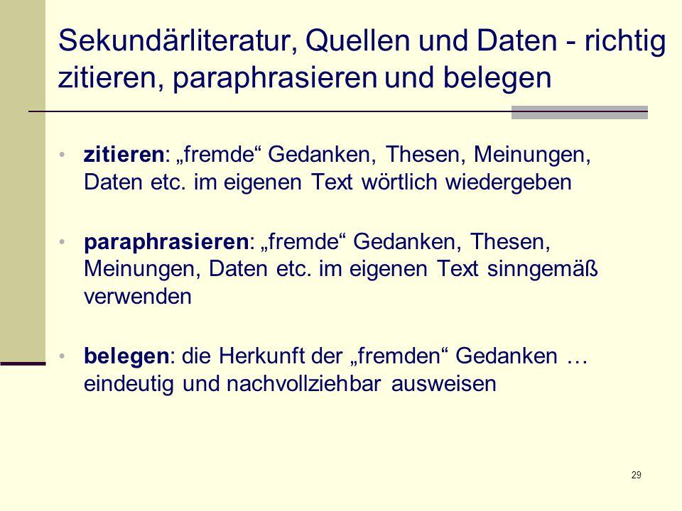 Sekundärliteratur, Quellen und Daten - richtig zitieren, paraphrasieren und belegen