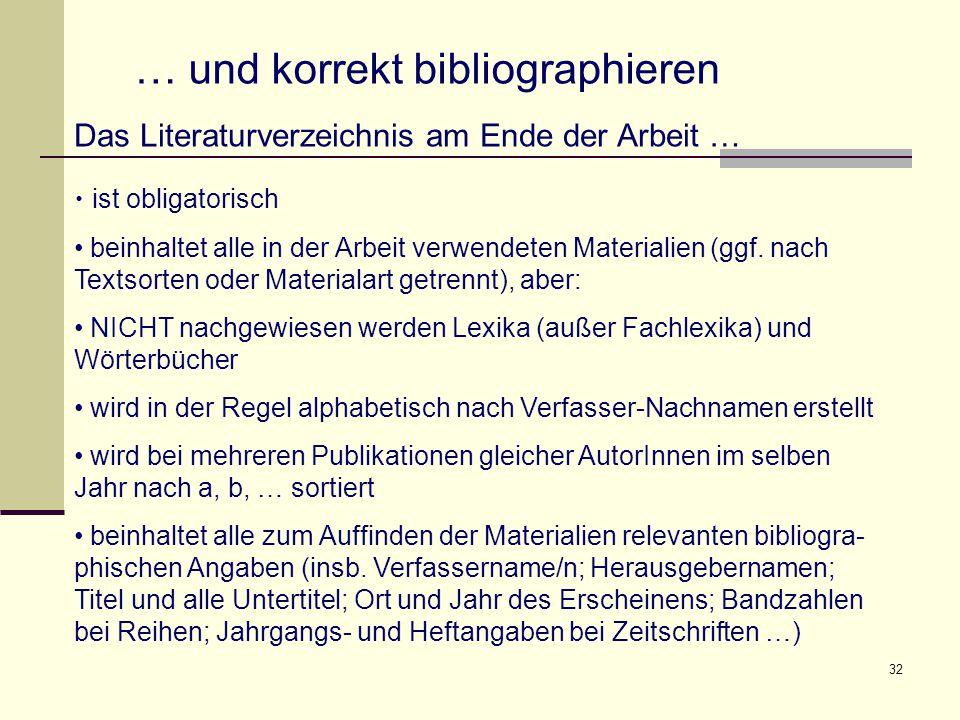… und korrekt bibliographieren