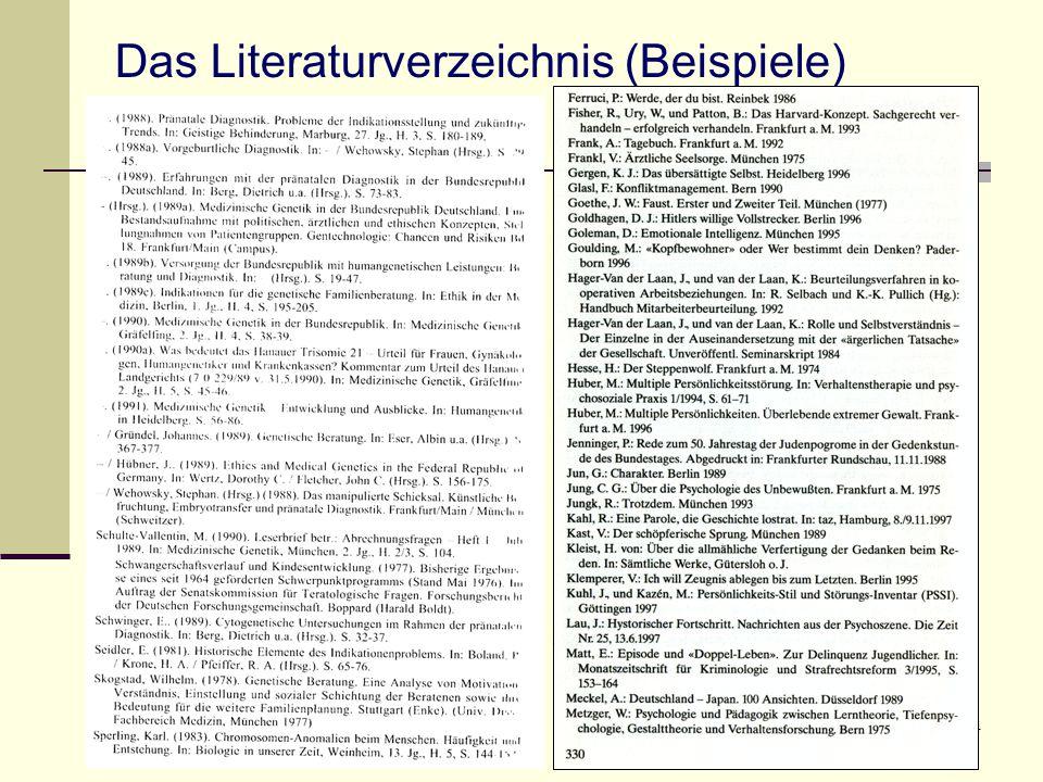 Das Literaturverzeichnis (Beispiele)