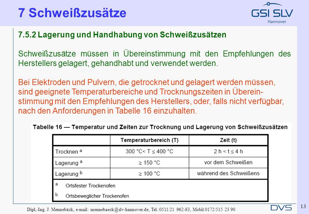 7 Schweißzusätze 7.5.2 Lagerung und Handhabung von Schweißzusätzen