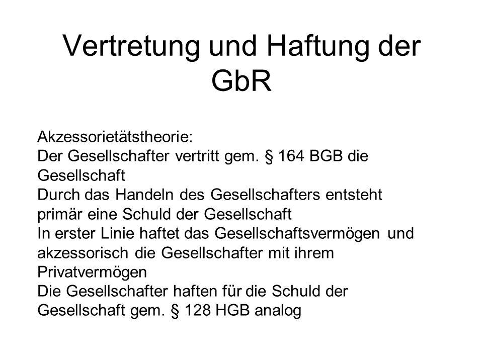 Vertretung und Haftung der GbR