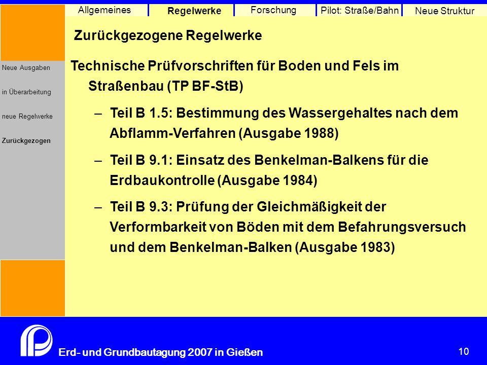 Erdarbeiten Allgemeines Regelwerke Forschung Pilot: Straße/Bahn
