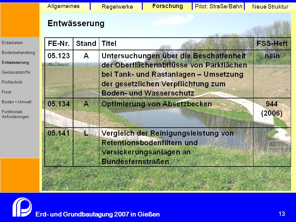 Geokunststoffe Allgemeines Regelwerke Forschung Pilot: Straße/Bahn