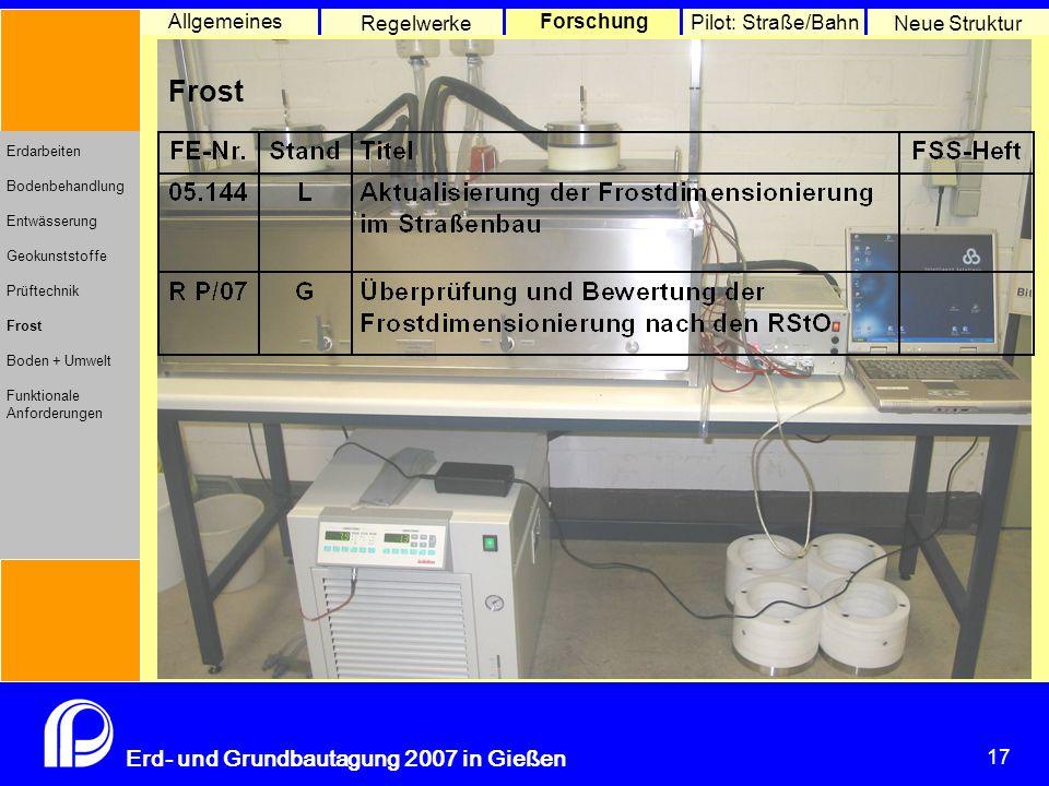 Boden und Umwelt Allgemeines Regelwerke Forschung Pilot: Straße/Bahn