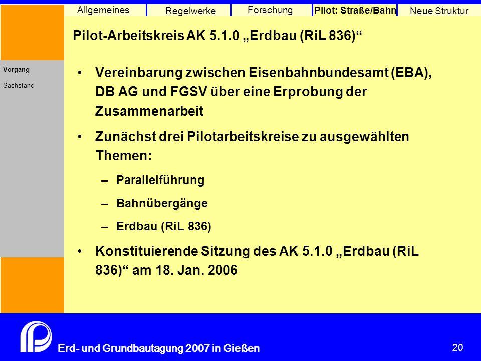 "Pilot-Arbeitskreis AK 5.1.0 ""Erdbau (RiL 836)"