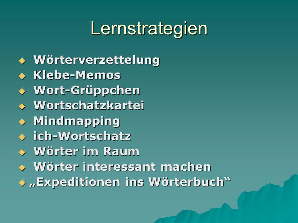 Lernstrategien Wörterverzettelung Klebe-Memos Wort-Grüppchen