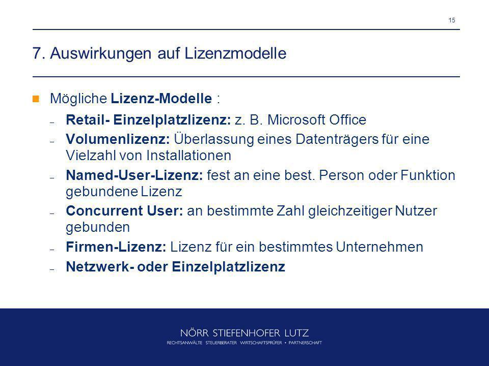 7. Auswirkungen auf Lizenzmodelle