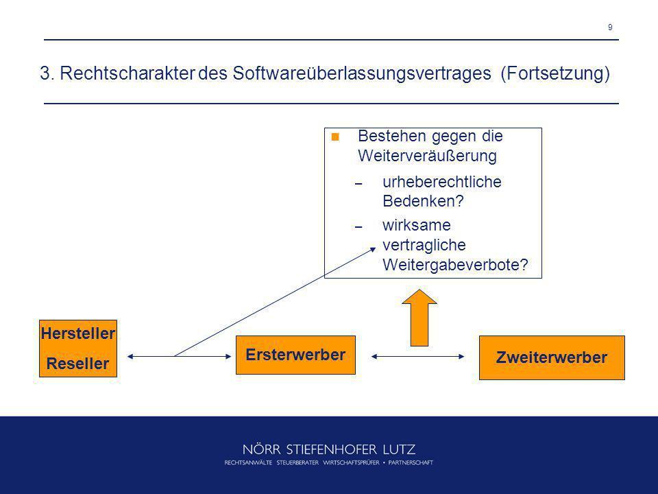 3. Rechtscharakter des Softwareüberlassungsvertrages (Fortsetzung)
