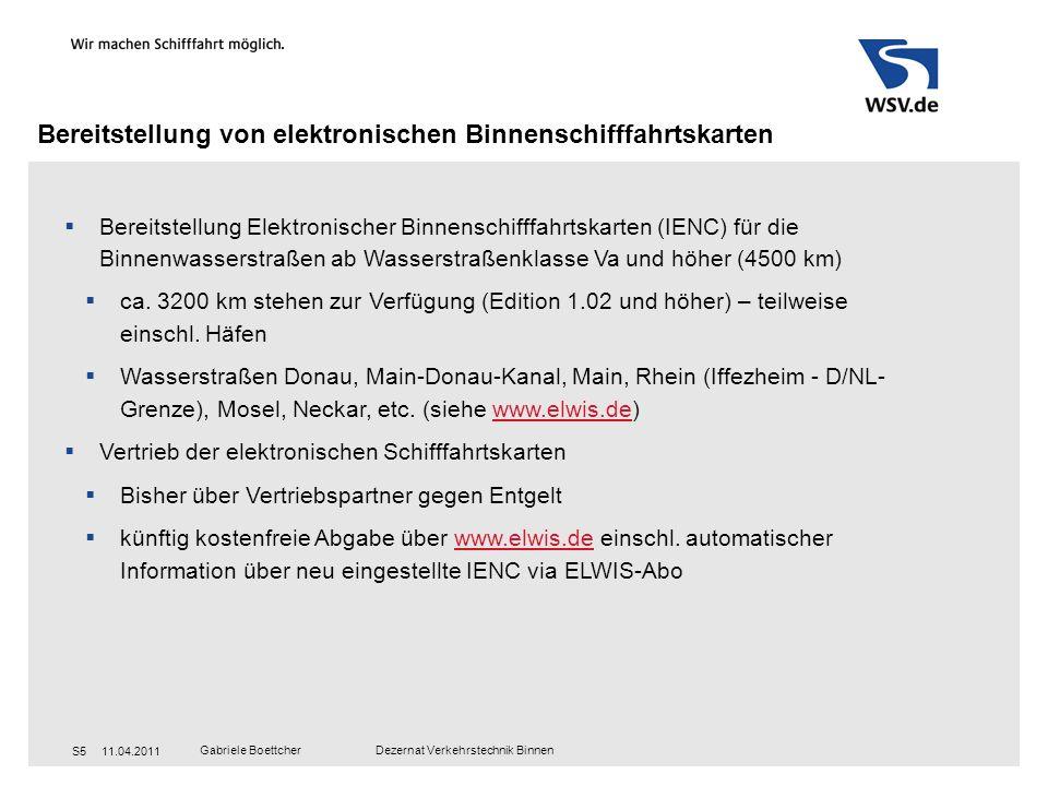 Bereitstellung von elektronischen Binnenschifffahrtskarten