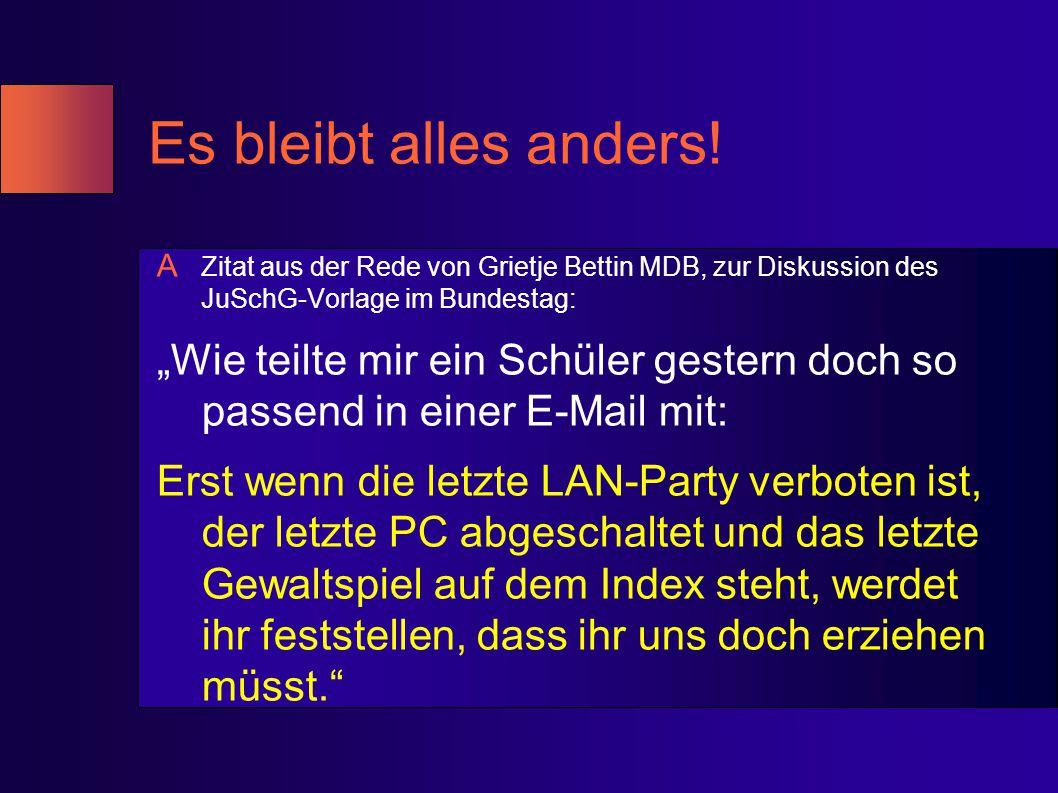Es bleibt alles anders! Zitat aus der Rede von Grietje Bettin MDB, zur Diskussion des JuSchG-Vorlage im Bundestag: