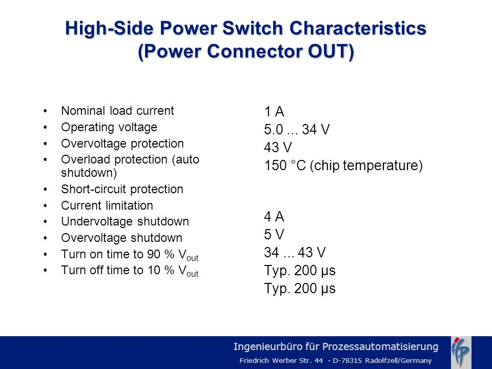 High-Side Power Switch Characteristics (Power Connector OUT)