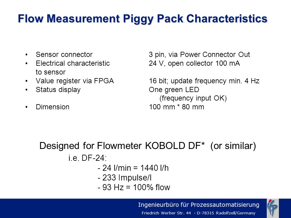 Flow Measurement Piggy Pack Characteristics