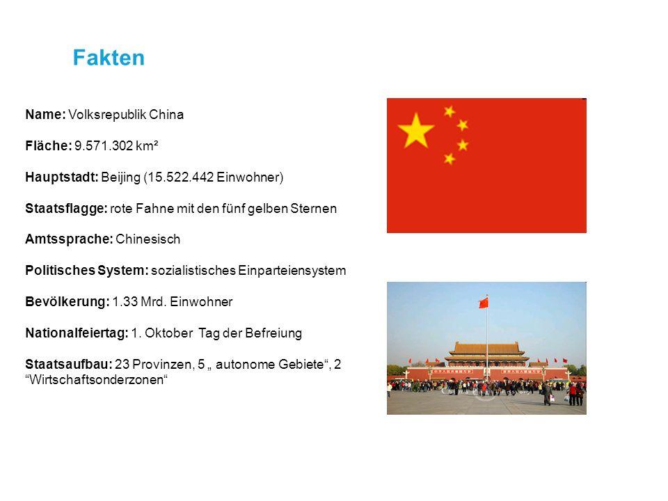 Fakten Name: Volksrepublik China Fläche: 9.571.302 km²
