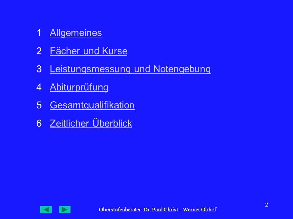 Oberstufenberater: Dr. Paul Christ – Werner Obhof